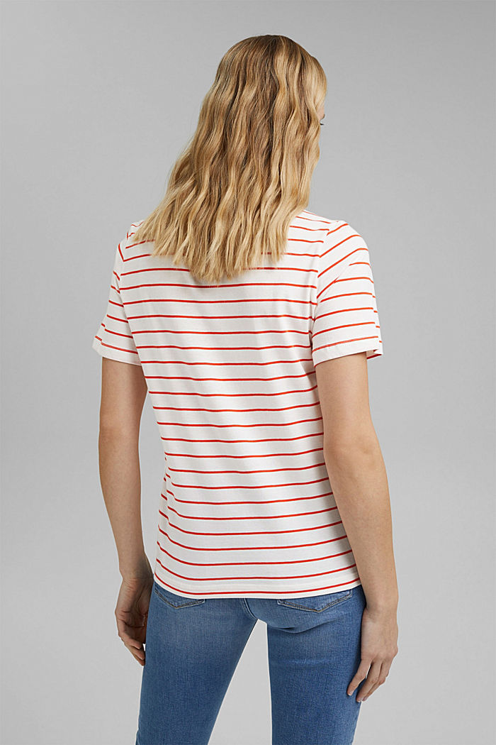Striped organic cotton T-shirt with a print, ORANGE RED, detail image number 3