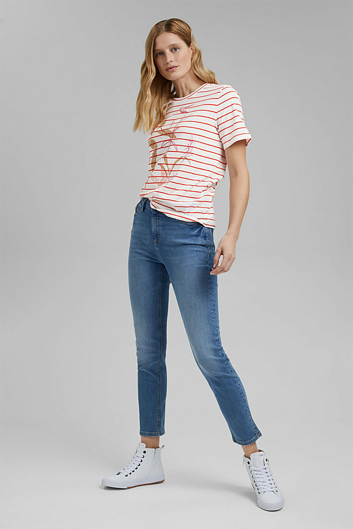 Striped organic cotton T-shirt with a print, ORANGE RED, detail image number 1
