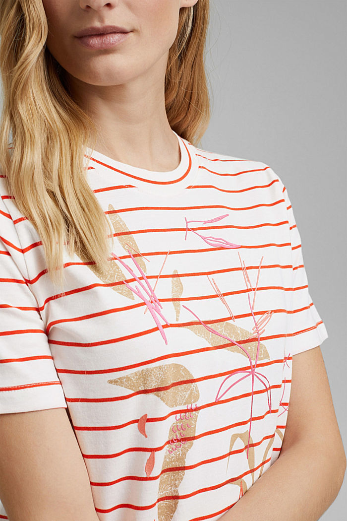 Striped organic cotton T-shirt with a print, ORANGE RED, detail image number 2