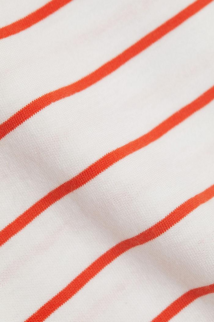 Gestreiftes T-Shirt mit Print, Organic Cotton, ORANGE RED, detail image number 4