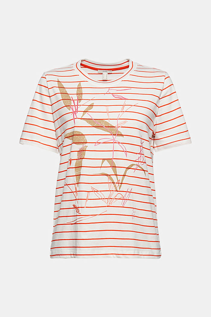 Striped organic cotton T-shirt with a print, ORANGE RED, overview