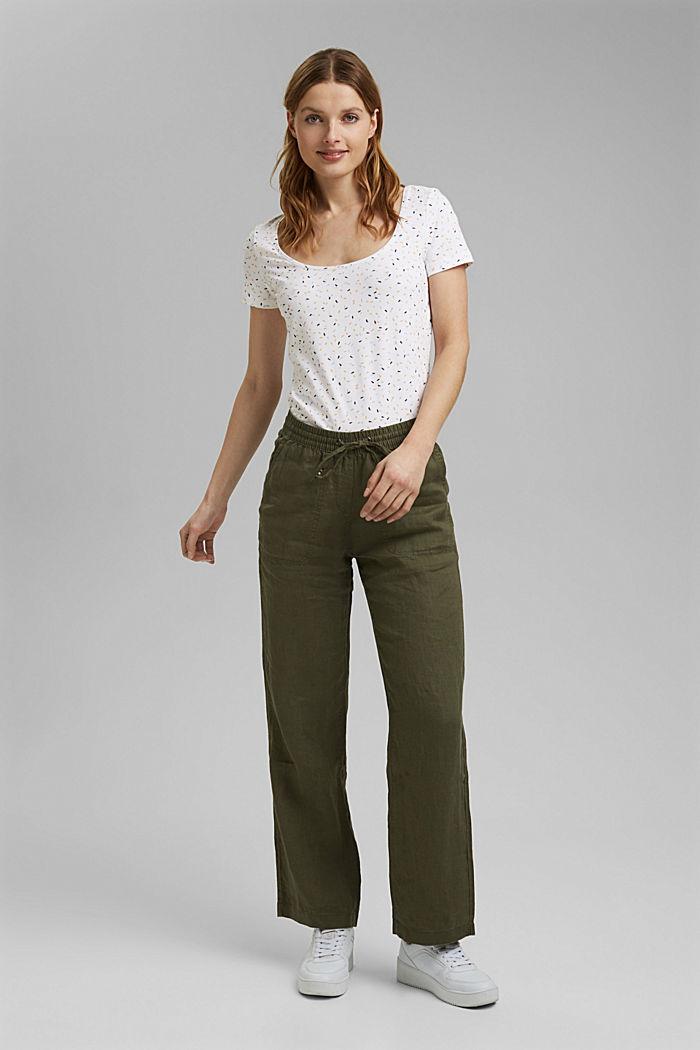 Basic printed top, organic cotton, WHITE, detail image number 1