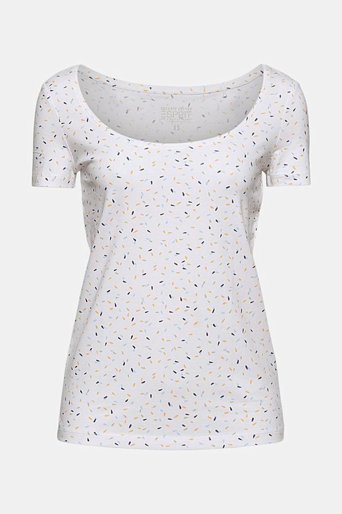 Basic printed top, organic cotton, WHITE, detail image number 5