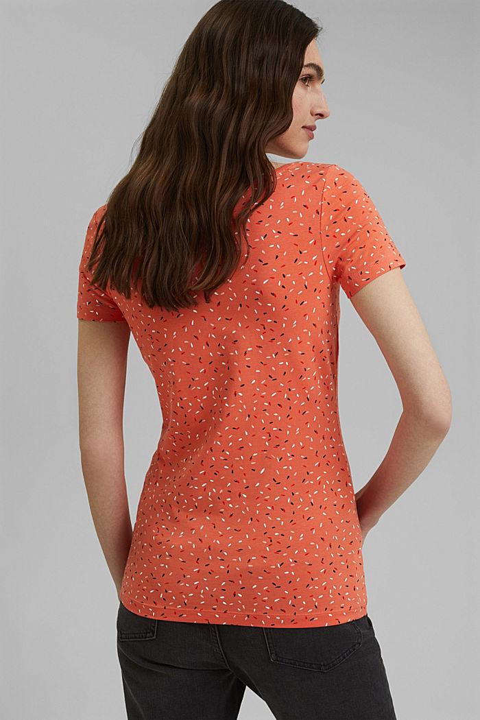 Basic-Shirt mit Print, Organic Cotton, CORAL ORANGE, detail image number 3
