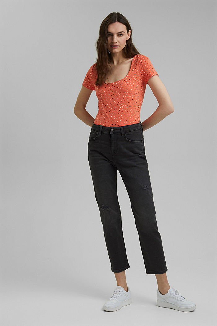 Basic-Shirt mit Print, Organic Cotton, CORAL ORANGE, detail image number 1