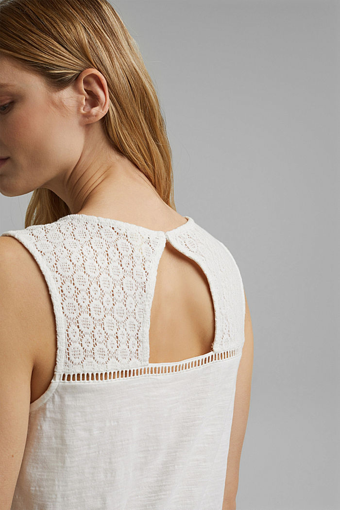 Vest with crocheted lace, OFF WHITE, detail image number 2