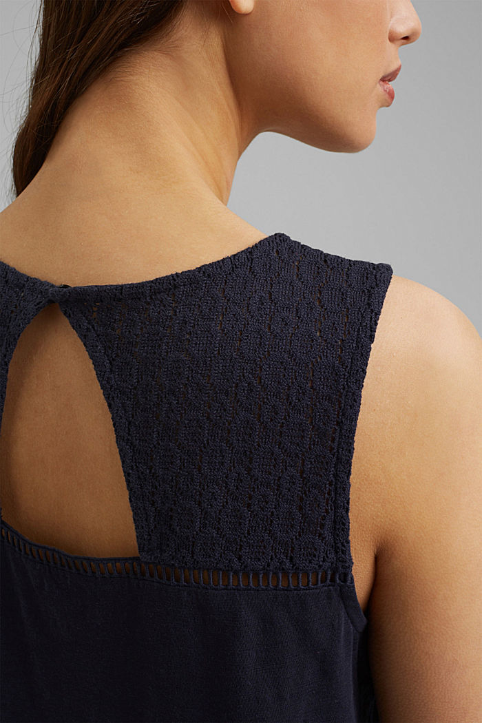 Vest with crocheted lace, NAVY, detail image number 2