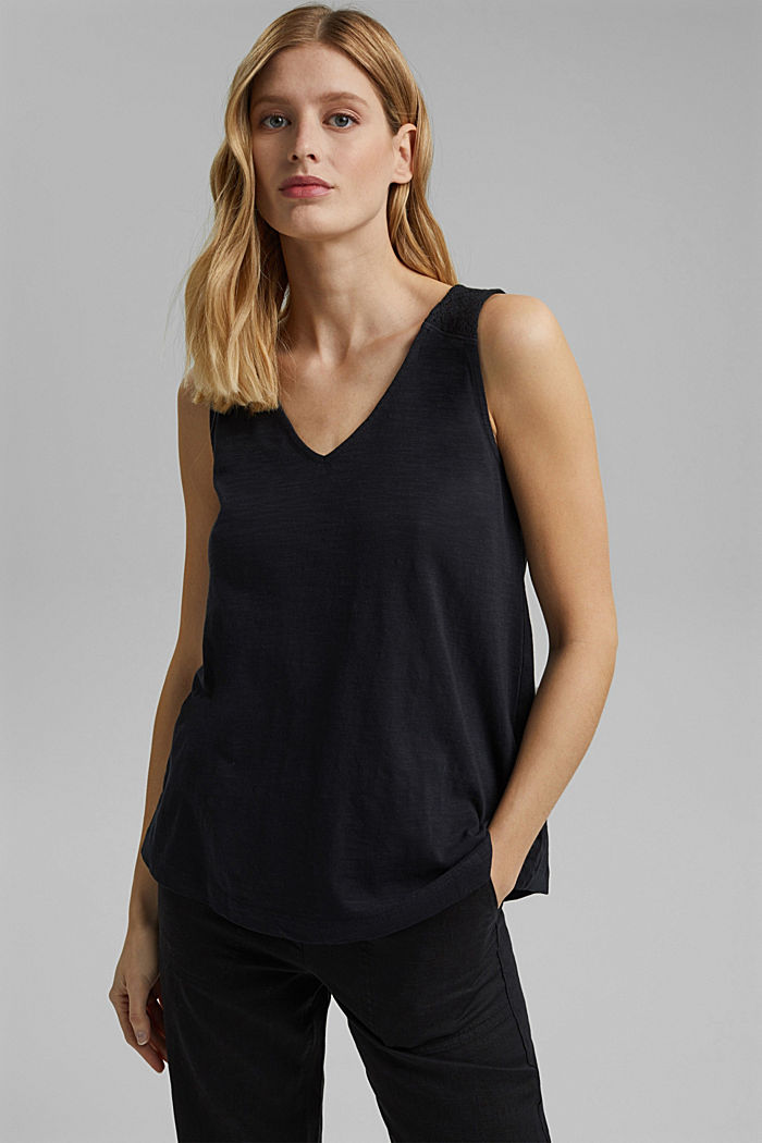 Sleeveless top with a V-neckline and crocheted lace, BLACK, detail image number 0