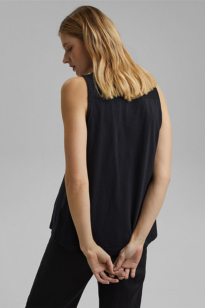 Sleeveless top with a V-neckline and crocheted lace, BLACK, detail image number 3