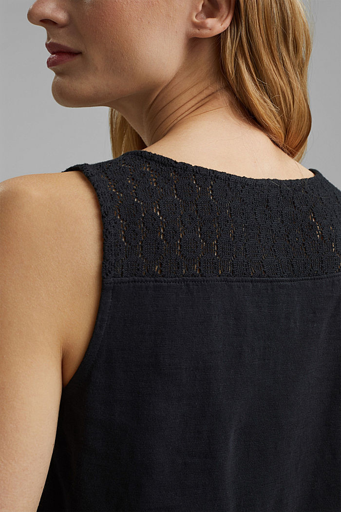 Sleeveless top with a V-neckline and crocheted lace, BLACK, detail image number 2