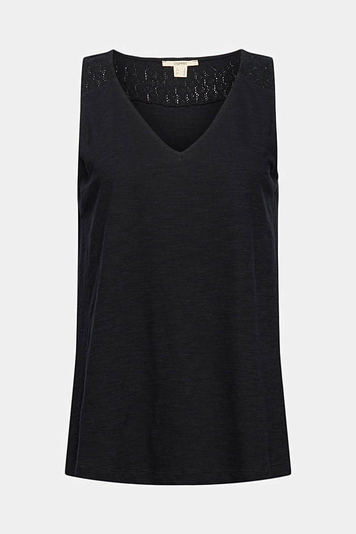 Sleeveless top with a V-neckline and crocheted lace, BLACK, detail image number 6