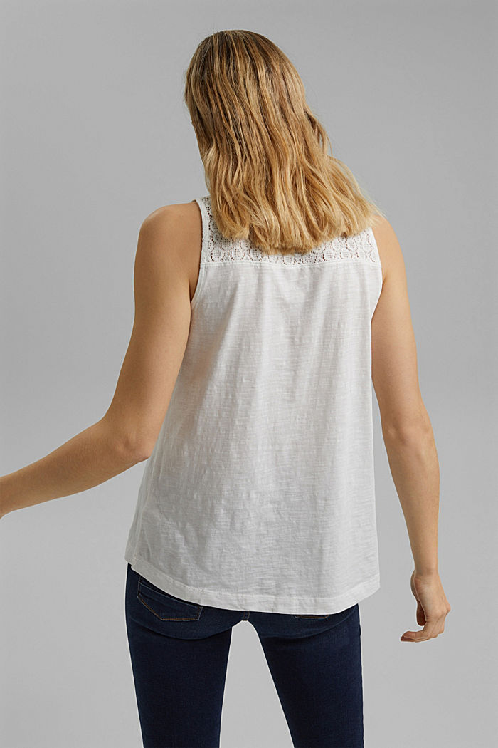 Sleeveless top with a V-neckline and crocheted lace, OFF WHITE, detail image number 3