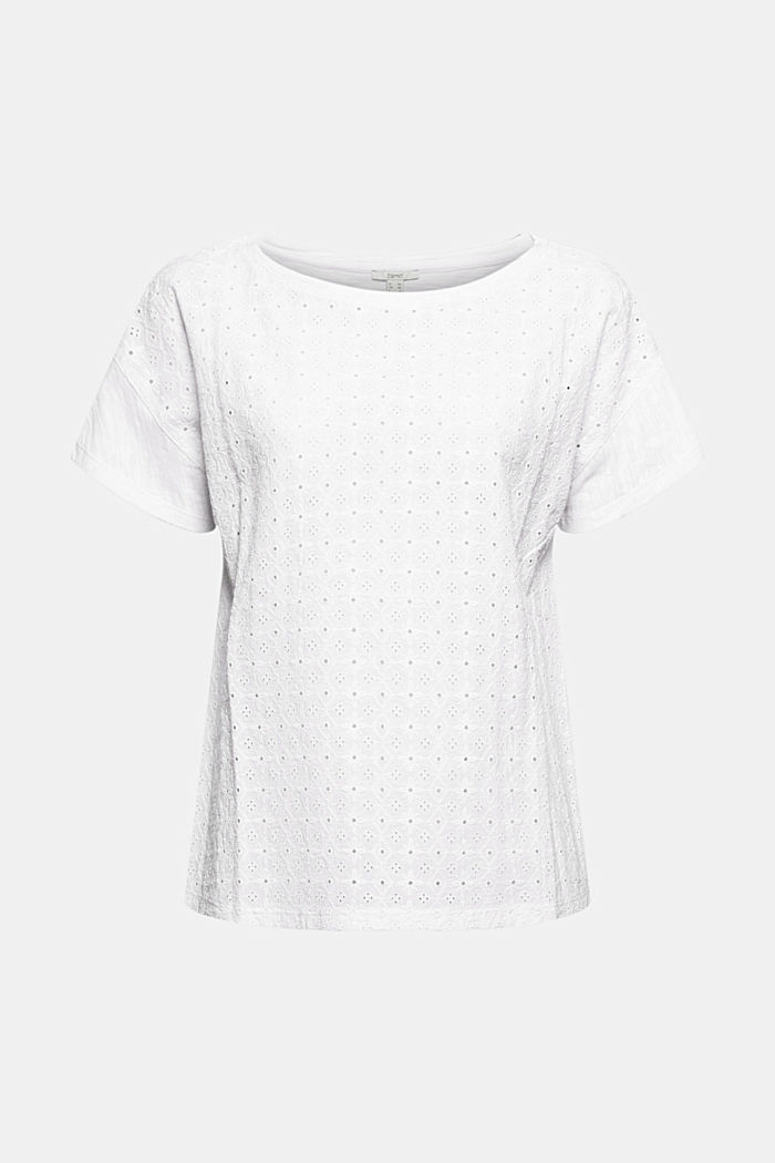 Organic cotton T-shirt with broderie anglaise, WHITE, detail image number 5