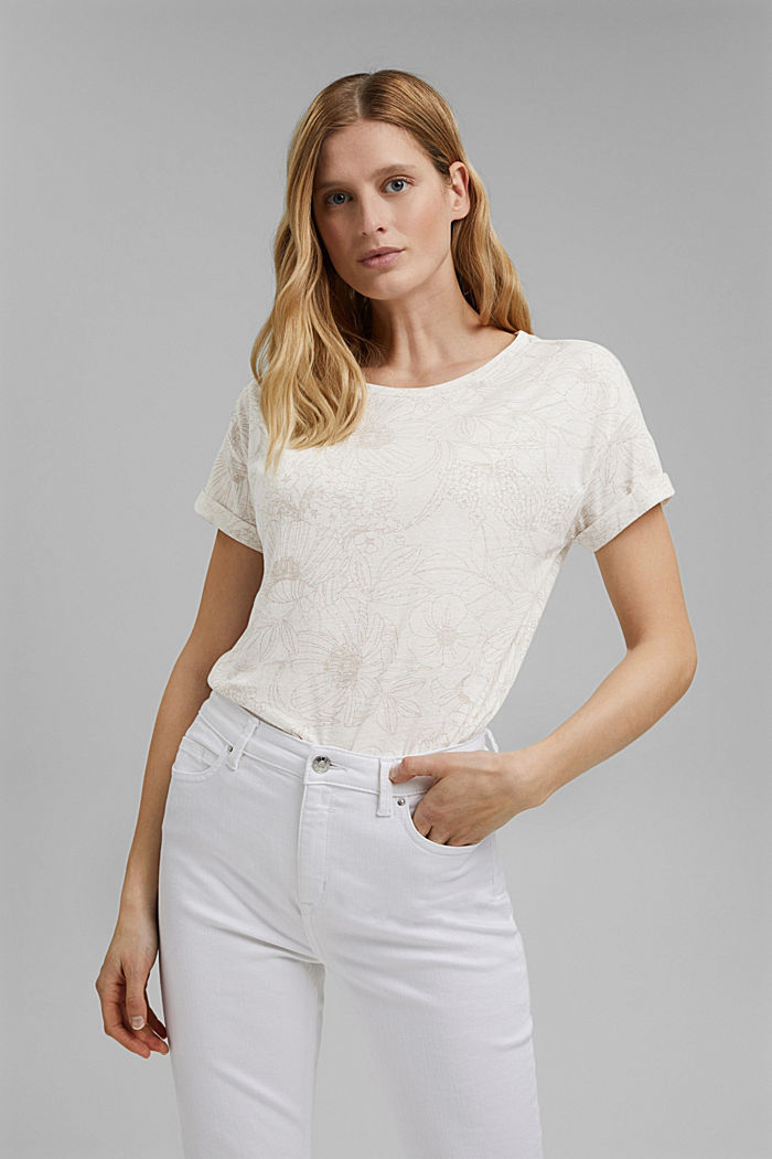 Recycled: T-shirt with organic cotton, OFF WHITE, detail image number 0
