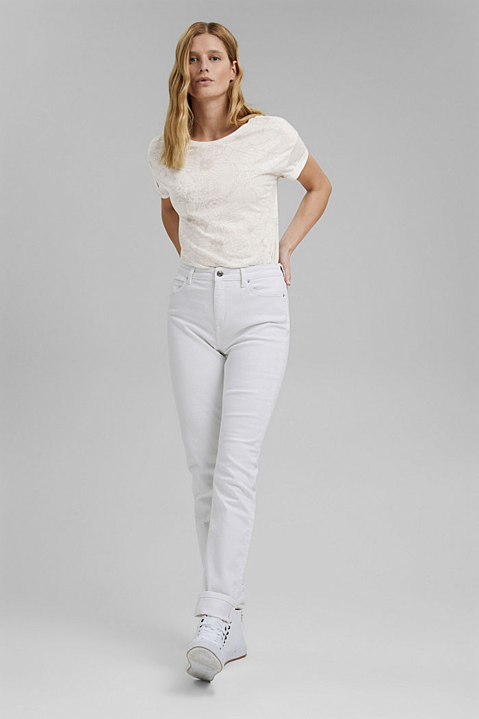 Recycelt: T-Shirt mit Organic Cotton, OFF WHITE, detail image number 5