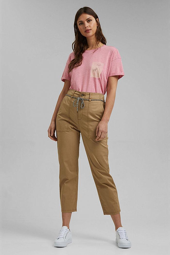 Confeccionada en TENCEL™/algodón ecológico: camiseta suelta, PINK, detail image number 1
