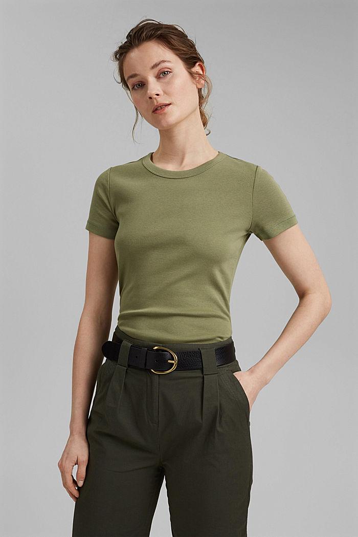 Basic T-shirt made of 100% organic cotton, LIGHT KHAKI, detail image number 0