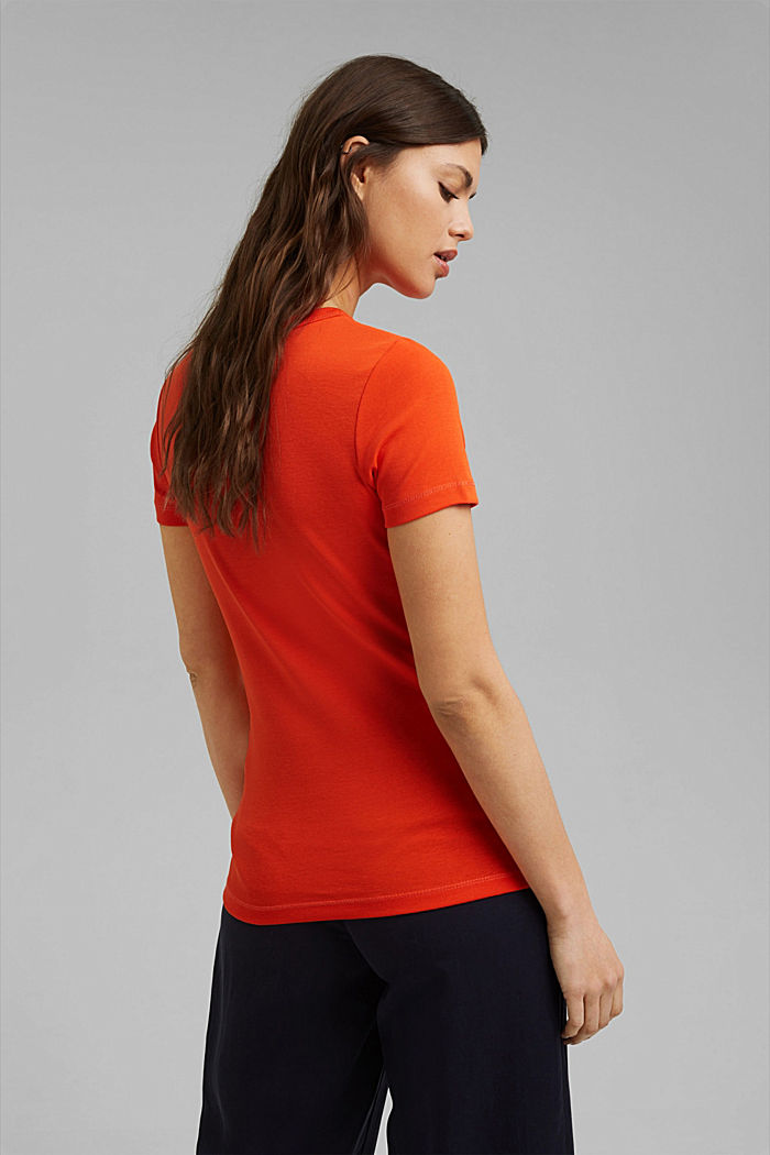Basic T-shirt van 100% biologisch katoen, ORANGE RED, detail image number 3