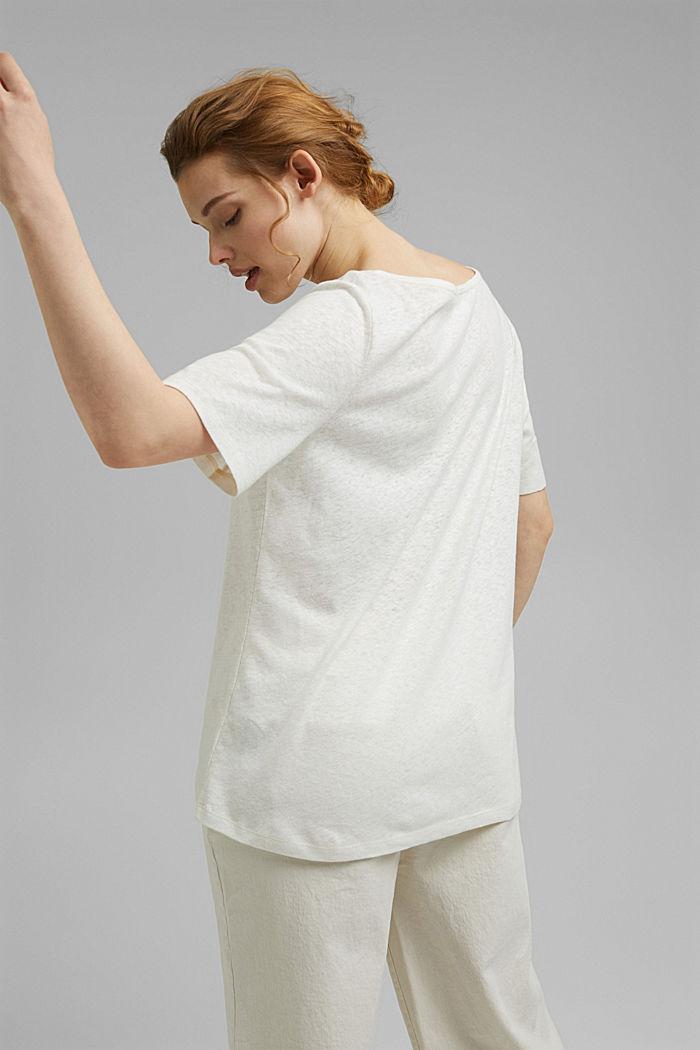 T-shirt CURVY à teneur en lin, OFF WHITE, detail image number 3