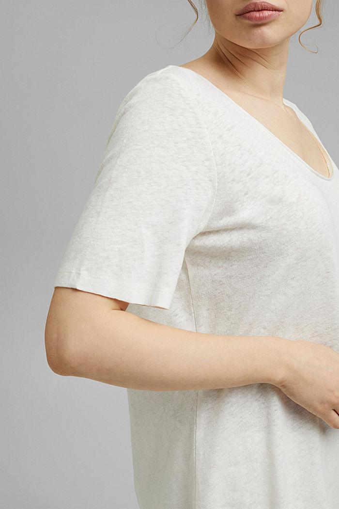 T-shirt CURVY à teneur en lin, OFF WHITE, detail image number 2