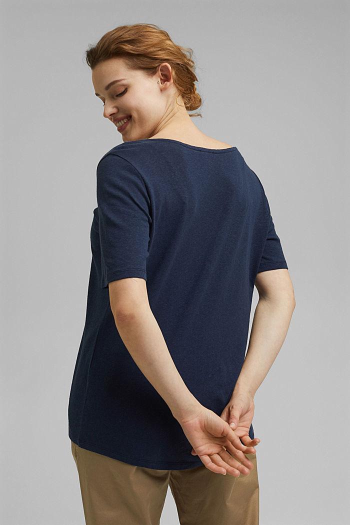CURVY blended linen T-shirt, NAVY, detail image number 3