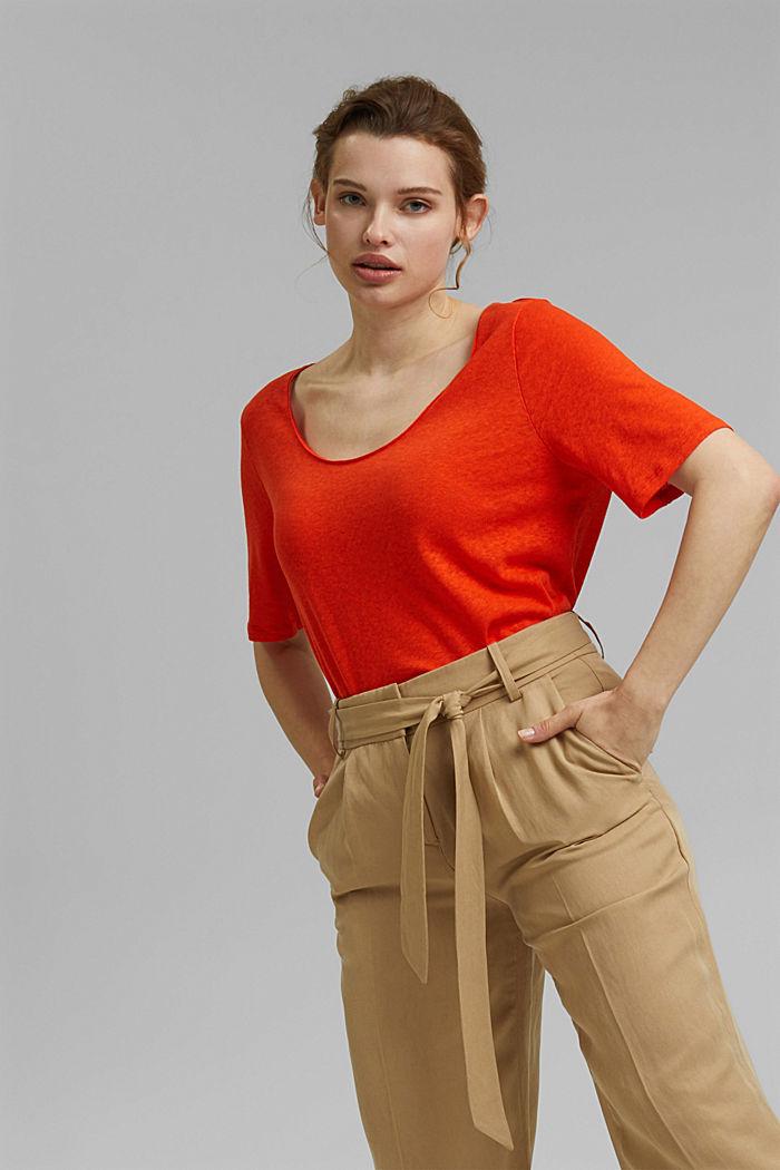 CURVY T-shirt met linnen, ORANGE RED, detail image number 5