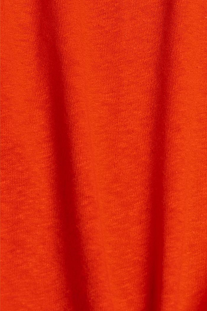 CURVY T-shirt met linnen, ORANGE RED, detail image number 4