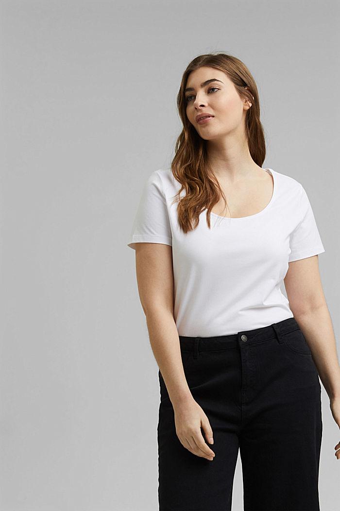 CURVY Basic-T-Shirt aus Organic Cotton, WHITE, detail image number 0
