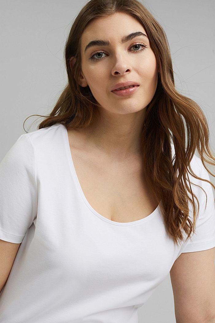 CURVY Basic-T-Shirt aus Organic Cotton, WHITE, detail image number 5