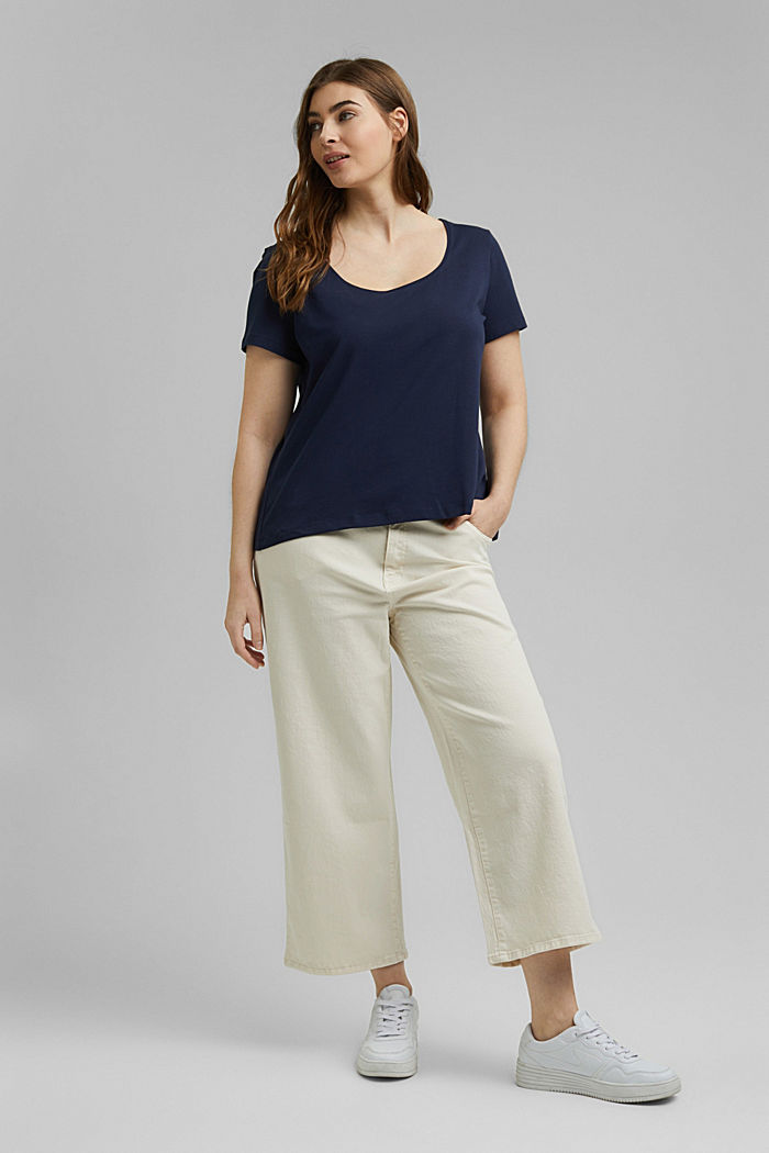 CURVY basic T-shirt made of organic cotton, NAVY, detail image number 1