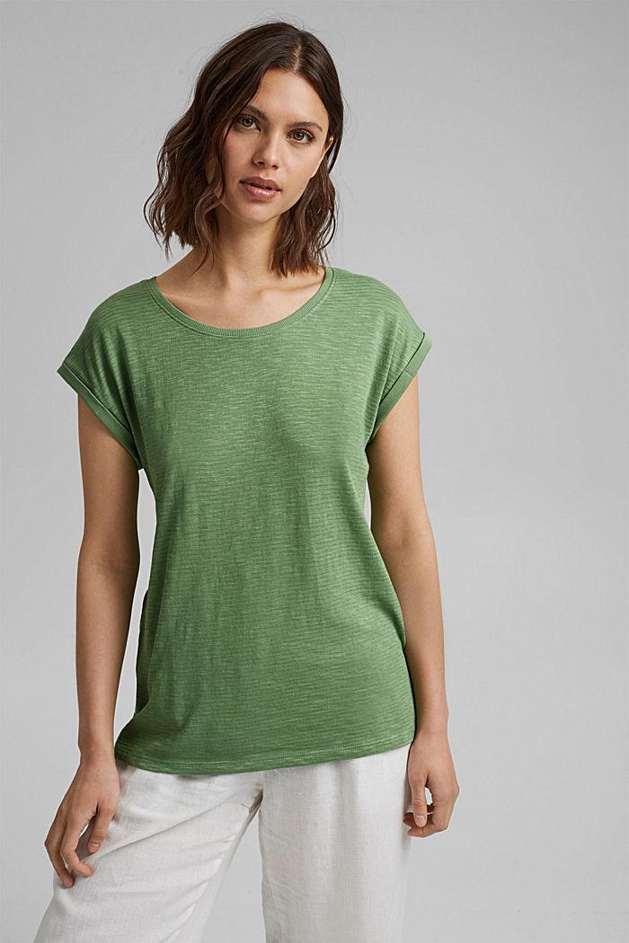 T-shirt van een mix met biologisch katoen, LEAF GREEN, detail image number 5