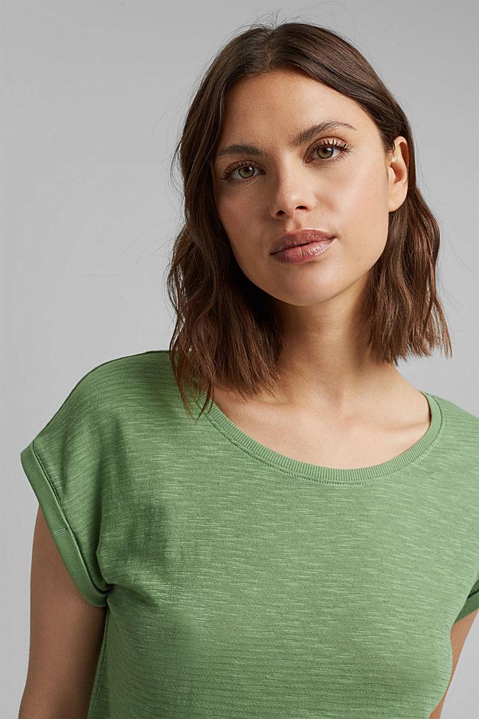 T-shirt van een mix met biologisch katoen, LEAF GREEN, detail image number 6