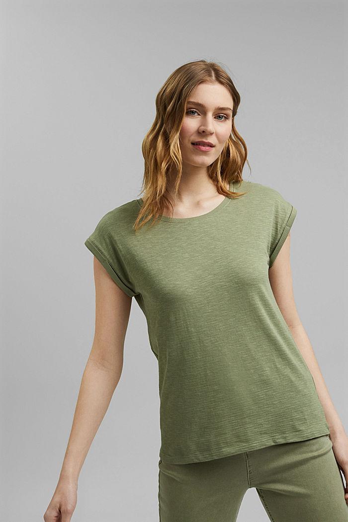 T-Shirt aus Bio-Baumwoll-Mix, LIGHT KHAKI, detail image number 0
