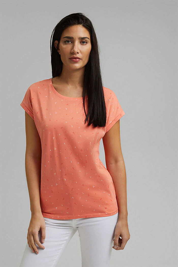 Print-Shirt aus 100% Organic Cotton, CORAL ORANGE, detail image number 0