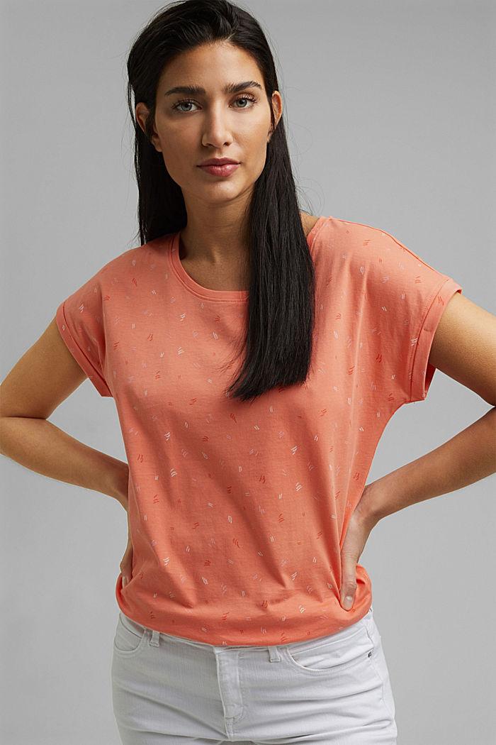 Print-Shirt aus 100% Organic Cotton, CORAL ORANGE, detail image number 5