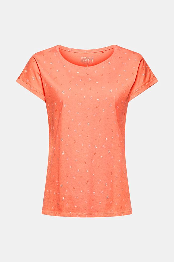 Print-Shirt aus 100% Organic Cotton, CORAL ORANGE, detail image number 6