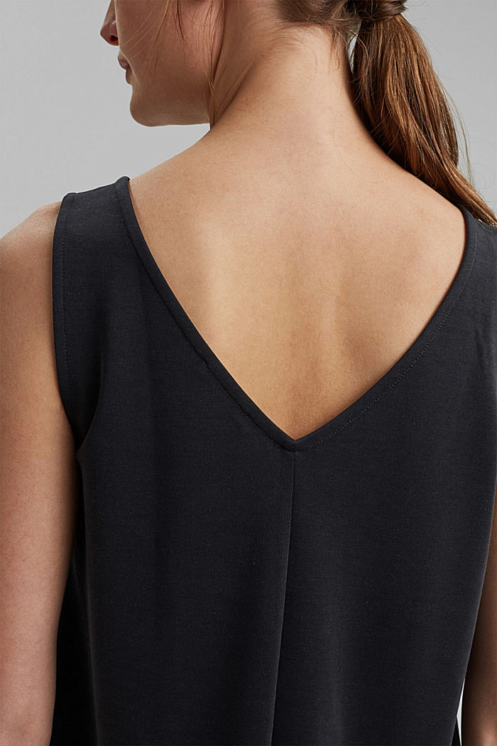 Blended modal sleeveless top, BLACK, detail image number 2