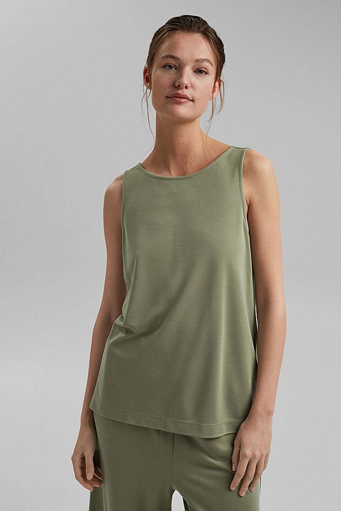 Blended modal sleeveless top, LIGHT KHAKI, detail image number 0