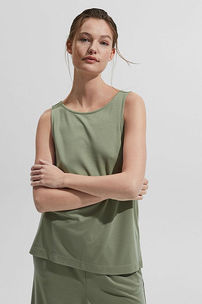 Blended modal sleeveless top, LIGHT KHAKI, detail image number 6