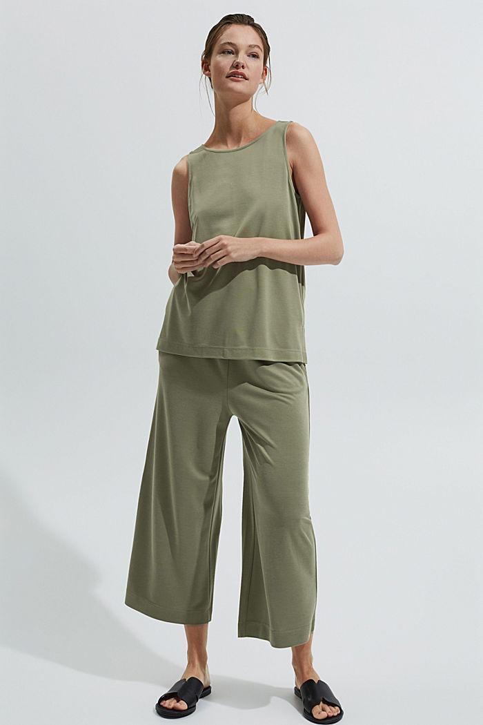 Blended modal sleeveless top, LIGHT KHAKI, detail image number 1