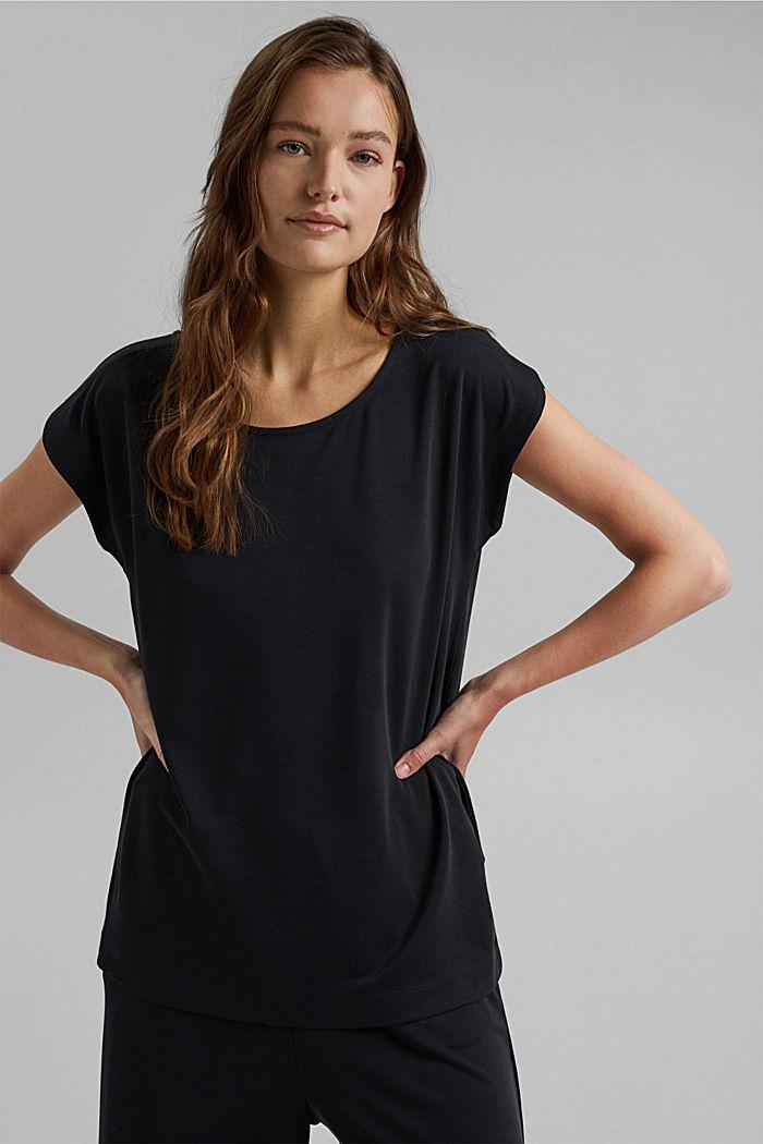 Flowing T-shirt in blended modal, BLACK, detail image number 0