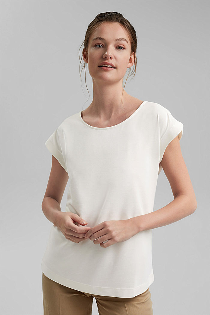 Aus Modal-Mix: fließendes T-Shirt, OFF WHITE, detail image number 0