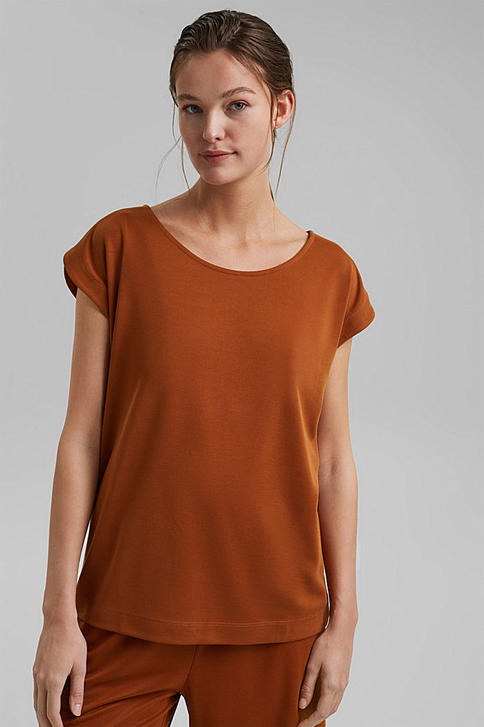 Flowing T-shirt in blended modal, CARAMEL, detail image number 0