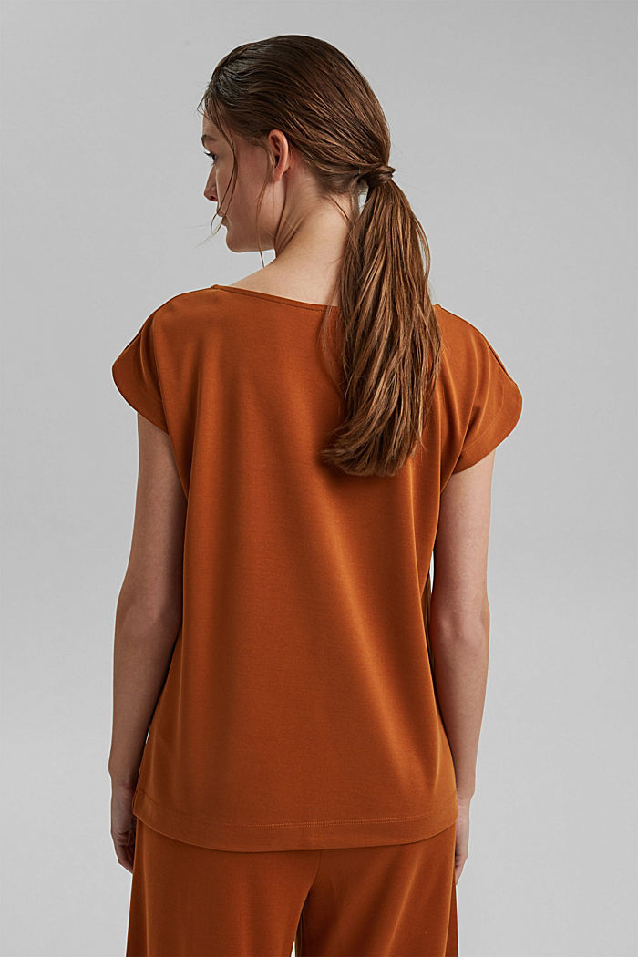 Flowing T-shirt in blended modal, CARAMEL, detail image number 3