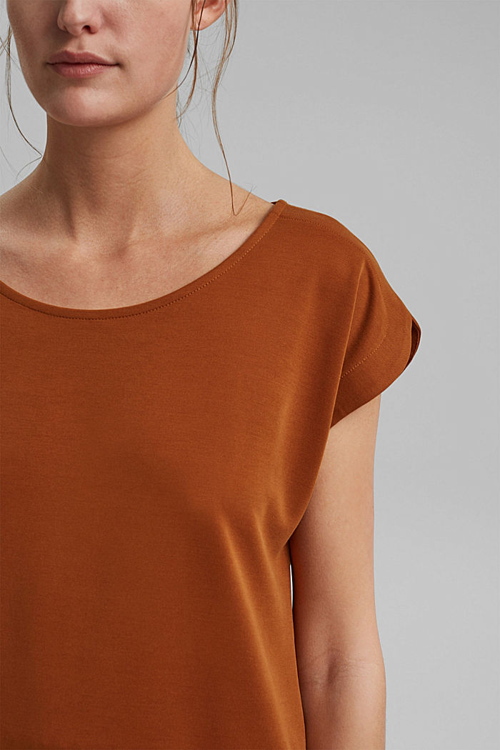 Flowing T-shirt in blended modal, CARAMEL, detail image number 2