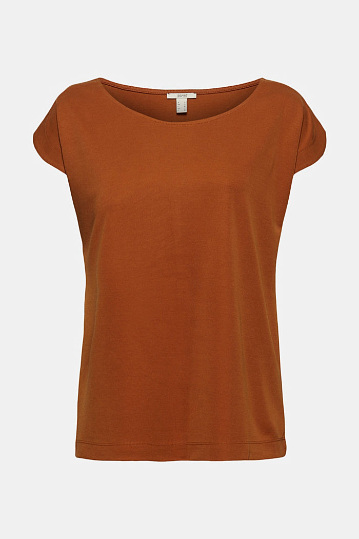 Flowing T-shirt in blended modal, CARAMEL, detail image number 6