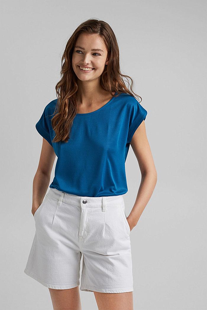 En modal mélangé: le t-shirt fluide, BRIGHT BLUE, detail image number 0