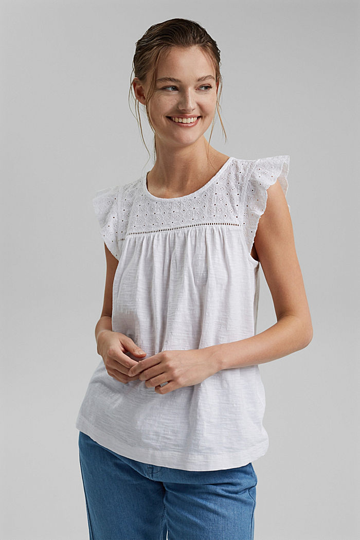 Top with broderie anglaise, 100% organic cotton, WHITE, detail image number 0
