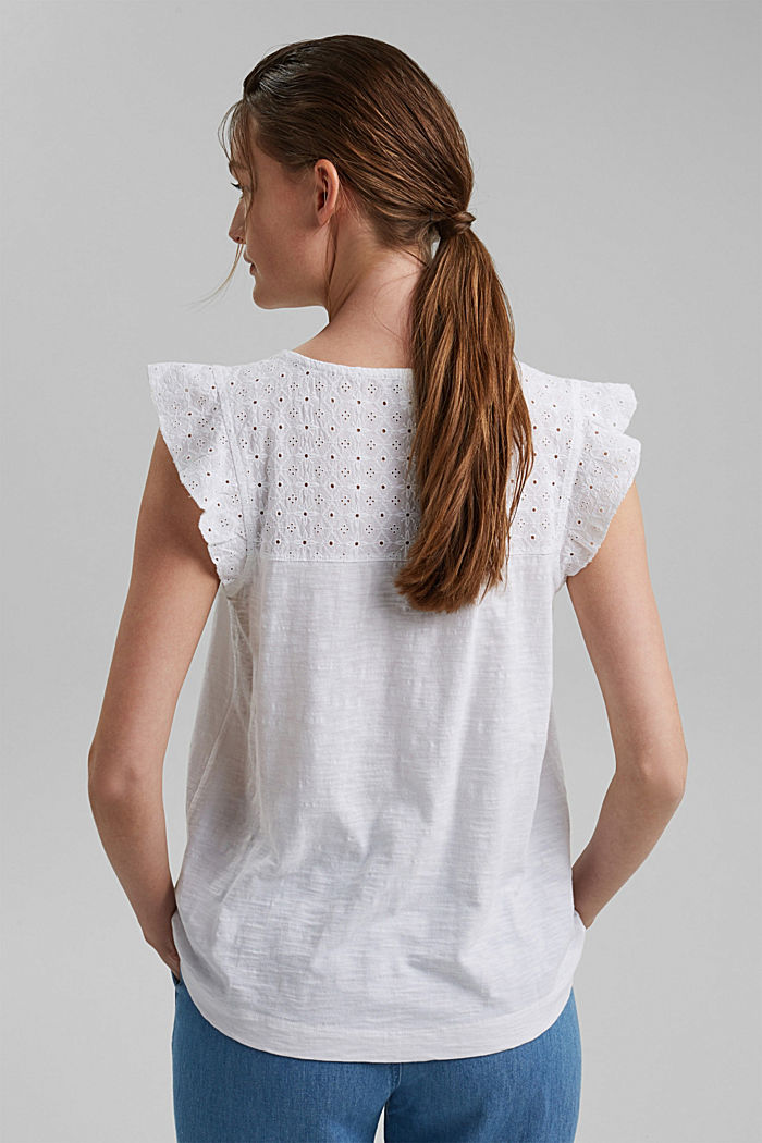Top with broderie anglaise, 100% organic cotton, WHITE, detail image number 3
