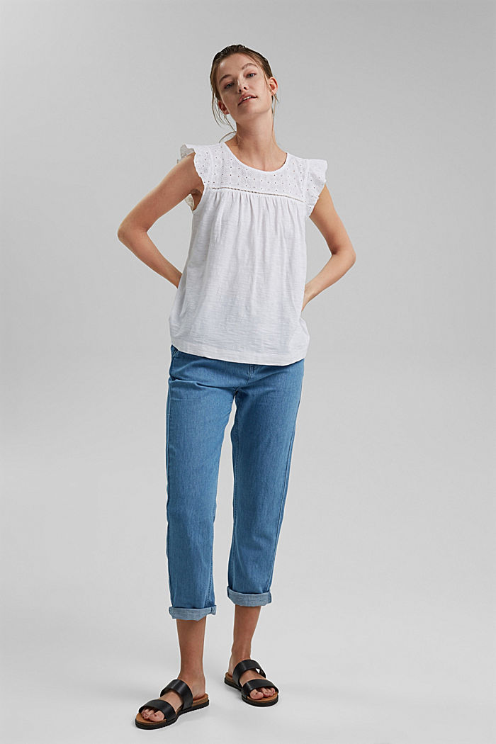 Top with broderie anglaise, 100% organic cotton, WHITE, detail image number 1